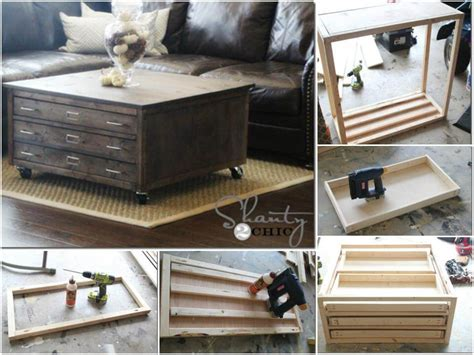 coffee table with wheels and storage 50 diy furniture projects with step by step plans diy