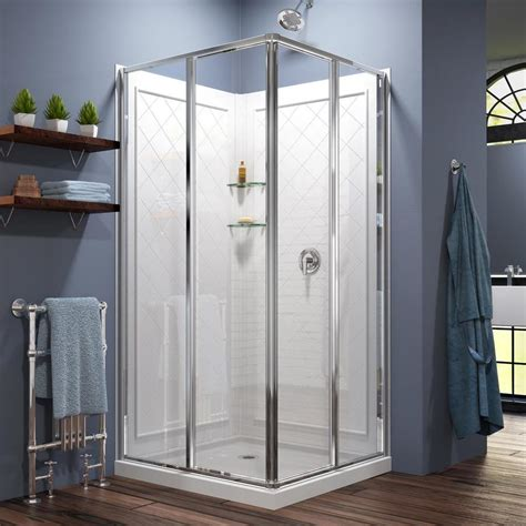 lowes bathroom shower kits shop dreamline cornerview white wall acrylic floor square