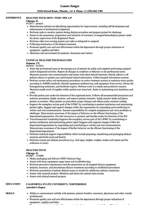 Dialysis Technician Resume by Dialysis Tech Resume Sles Velvet