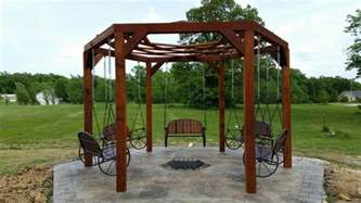 How To Build An Outdoor Kitchen Plans How To Build A Hexagonal Swing With Sunken Fire Pit Diy