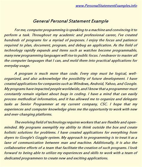 General Statement Essay Exle by General Personal Statement Exles For Admission Personal Statement Sle