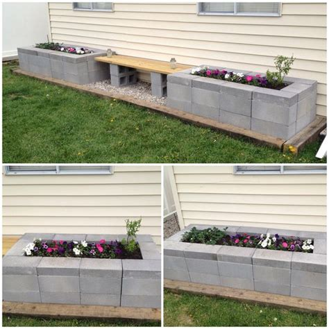 cinder block bench with back cinder block raised garden bed with bench diy backyard