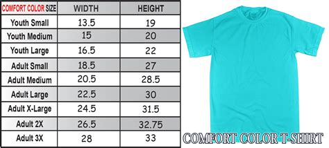 comfort colors size chart comfort color sizing charts