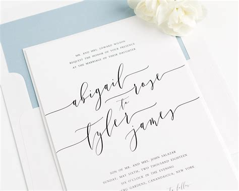 Wedding Invitations Writing by Calligraphy Wedding Invitations In Dusty Blue