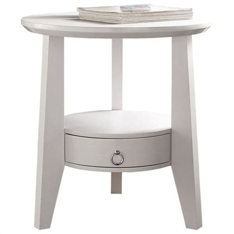 White Accent Table Accent Table In White With Drawer I 2492