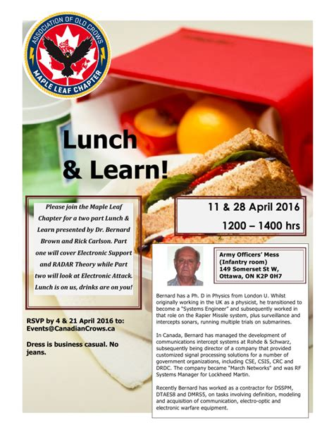 Association Of Old Crows Maple Leaf Chapter Lunch And Learn Flyer Template