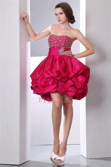 fuchsia color dress beading decorate carmine cocktail dress