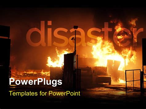 Powerpoint Template A Disaster Scene With Fire Blazing 12274 Disaster Powerpoint Templates Free
