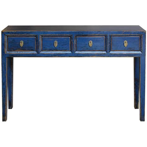 Blue 4 Drawer Console Table At 1stdibs Blue Sofa Table