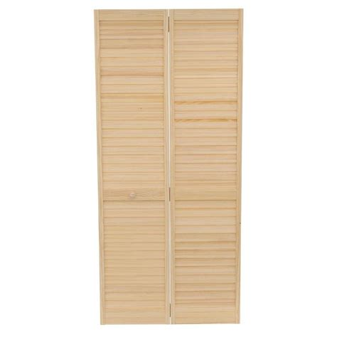 Bi Fold Louvered Closet Doors Bay 36 In X 80 In 36 In Plantation Louvered Solid Unfinished Wood Interior