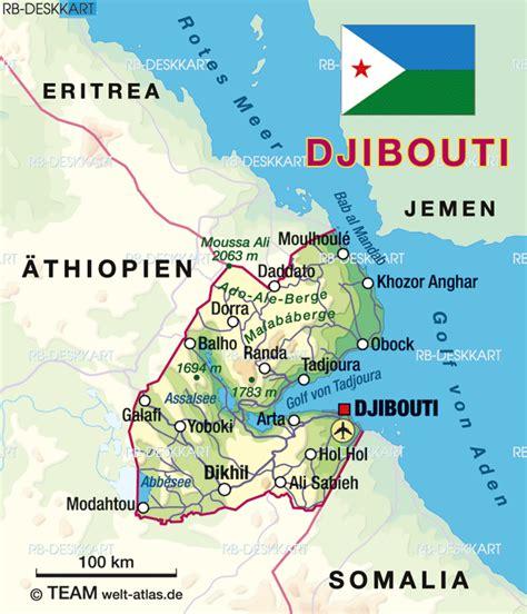 djibouti map djibouti regionen karte