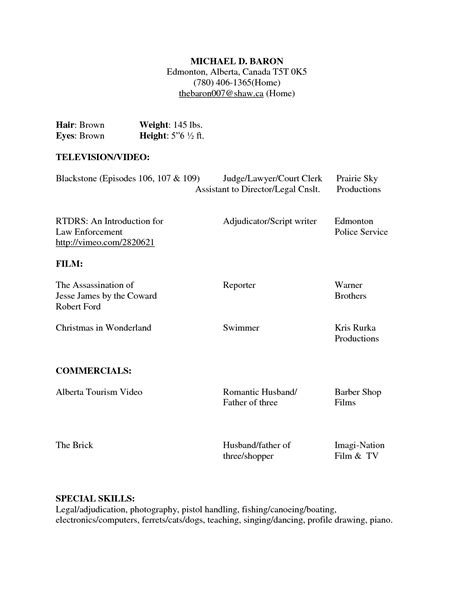 Beginners Resume Template by Search Results For Acting Resume Beginner Calendar 2015