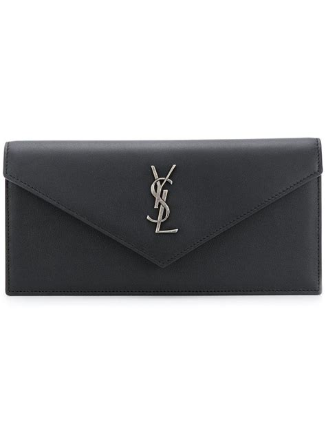 lyst saint laurent monogram envelope clutch bag  black