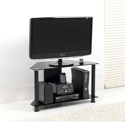 Lcd Tv Shelf by Black Glass 2 Shelf Corner Lcd Plasma Tv Stand 70cm Holds