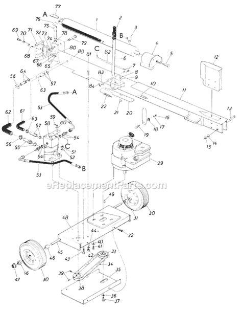 huskee log splitter parts diagram mtd 245 638 000 parts list and diagram 1985