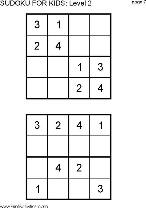 printable sudoku grade 2 free kid sudoku puzzle level 2 page 7