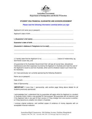 Loan Letter For Student Visa guarantor form fill printable fillable blank pdffiller