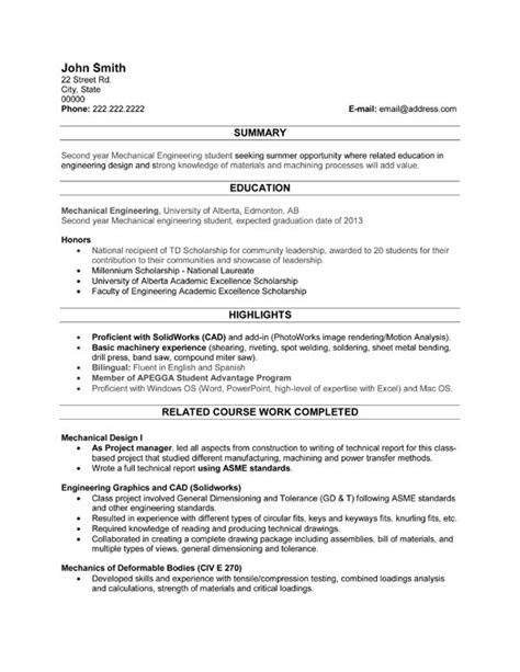 Resume Exles For College Students Engineering Student Resume Template Premium Resume Sles Exle