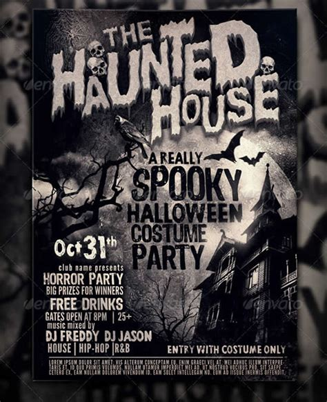 haunted house music free 23 best party poster templates webdesignboom
