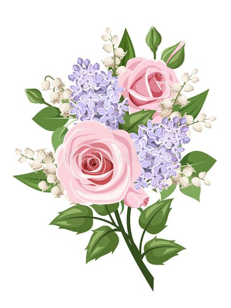 bouquet with pink roses lily of the valley and lilac