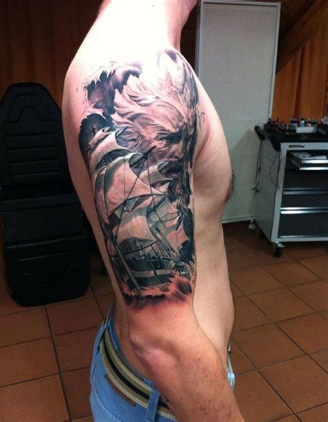 poseidon tattoo poseidon sleeve tattoos tatoo and