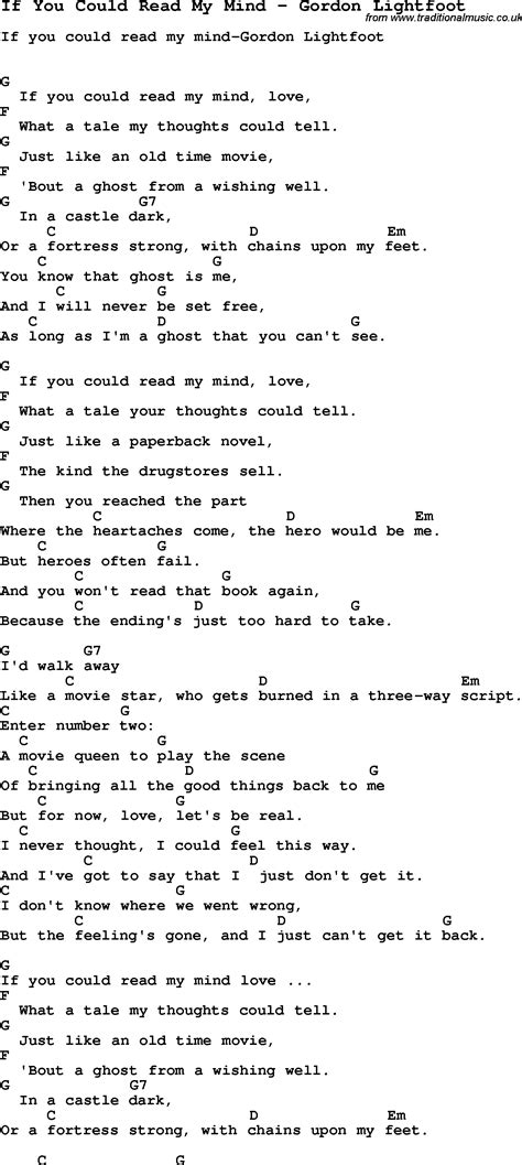 Song If You Could Read My Mind by Gordon Lightfoot, song