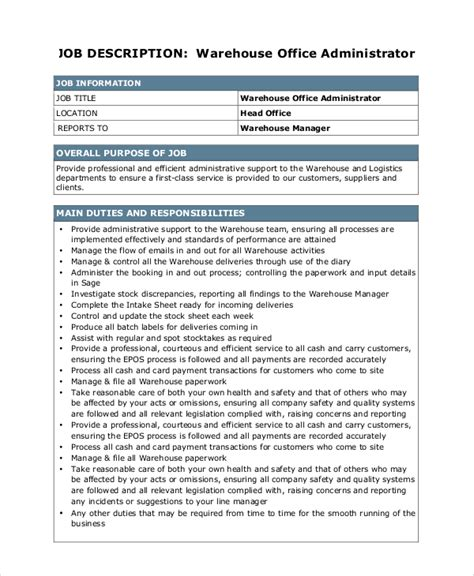 sle warehouse manager description 10 exles in pdf word
