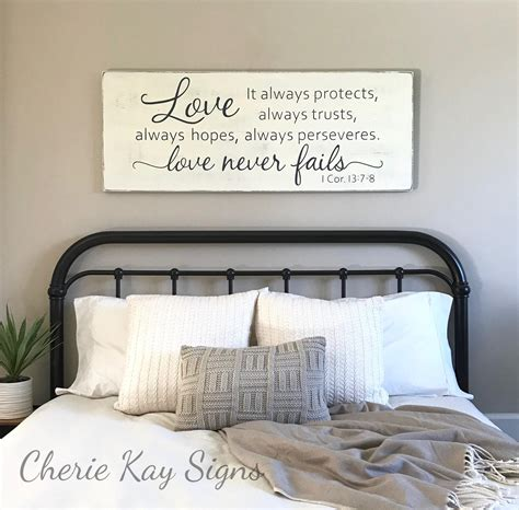 love wall decor bedroom master bedroom wall decor love never fails 1 corinthians