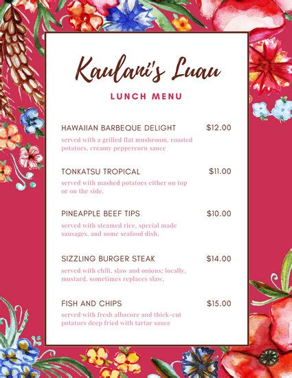 hawaiian menu template pink floral tropical lunch menu templates by canva