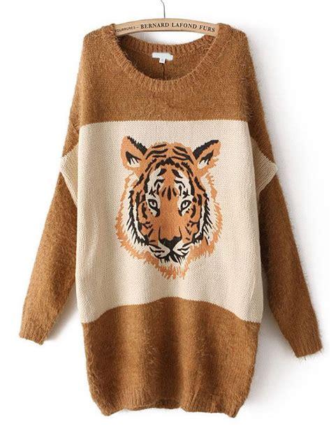 tiger pattern jumper khaki long sleeve tiger pattern loose sweater dream