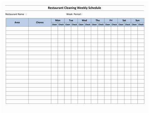 House Cleaning Schedule Jrotc Schedule Template