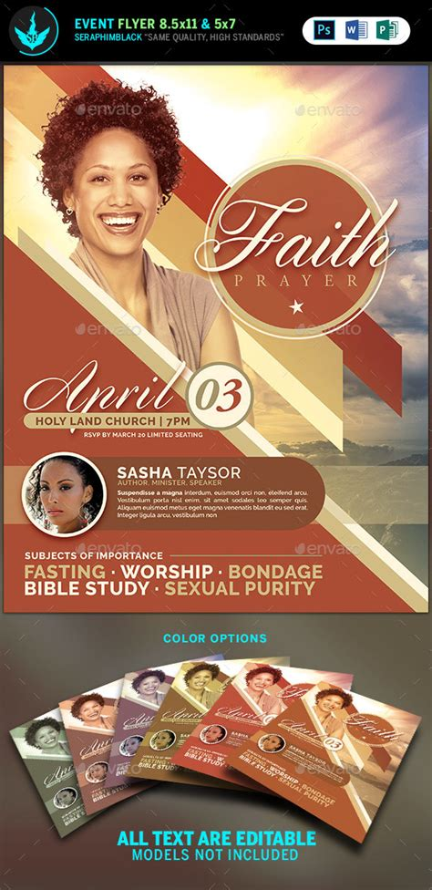 Faith And Prayer Church Flyer Template By Seraphimblack Graphicriver Prayer Flyer Template