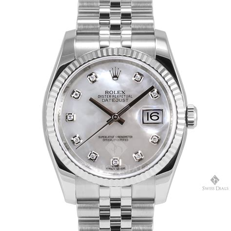 Mens Rolex Datejust Stainless Steel Factory Mother of Pearl Diamond Dial Fluted Bezel Jubilee