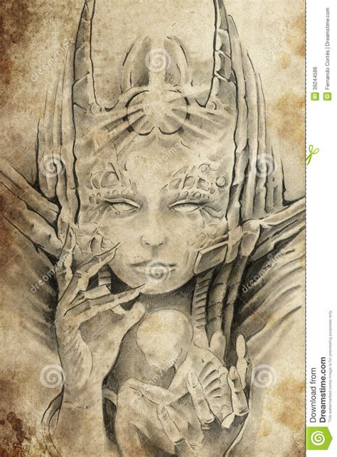 woman alien tattoo sketch stock illustration image