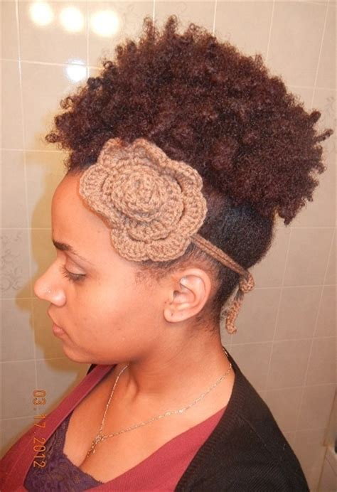 hair used for crochet fro natural hair styles afro puff using her own hair with