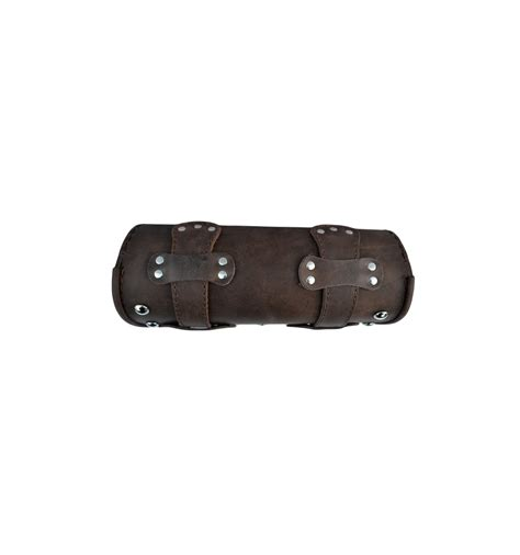 Leather Roll genuine brown leather tool roll bag studded chrome cruisers