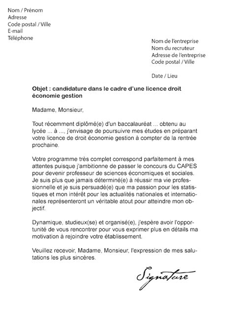 Exemple De Lettre De Motivation Université Licence Lettre De Motivation Licence Droit 233 Conomie Gestion Mod 232 Le De Lettre