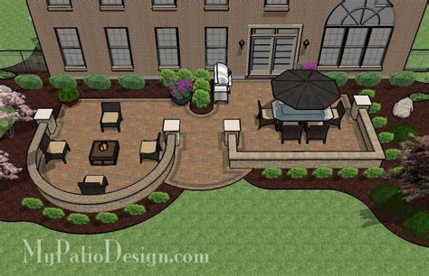 Hot Tub Patio Design With Seat Walls Download Plan My Patio Design