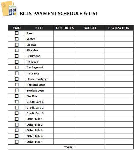 monthly bill payment worksheet exltemplates