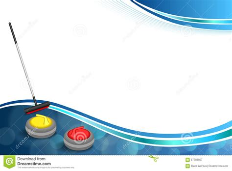 curling game sport royalty free cartoon cartoondealer background abstract curling sport blue ice red yellow