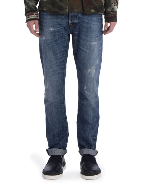 light washed mens valentino light washed distressed denim in blue for
