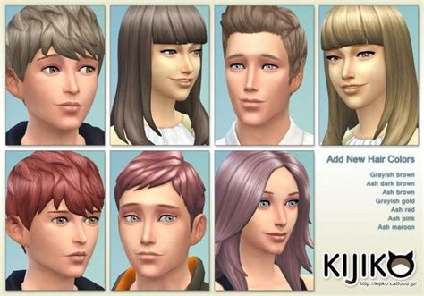 custom hair color sims 4 custom hair kijiko new hair colors sims 4