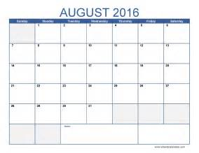 Calendar Templates by August 2016 Calendar Template Monthly Calendar 2016 Pdf
