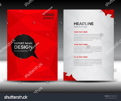 Red Cover Design Annual Report Template Stock Vector 372836416 Shutterstock Ads Report Template