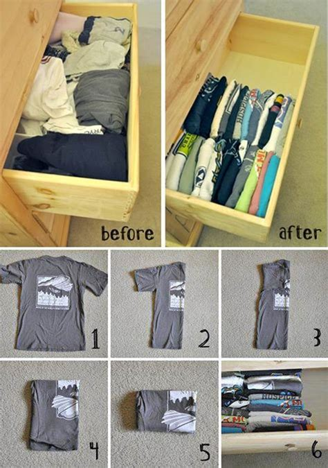 diy how to fold and organize t shirts in a drawer