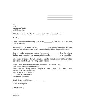 Letter To Bank For Disbursement Of Loan Consent Letter Format For Bank Loan Cover Letter Templates