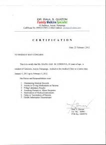 Certification Letter For Nanny 404522 certification of employment sample employment certificate