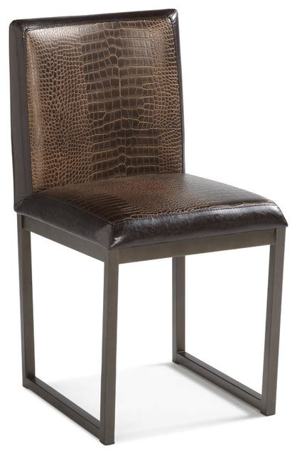 sunpan porto faux crocodile leather dining chairs set of