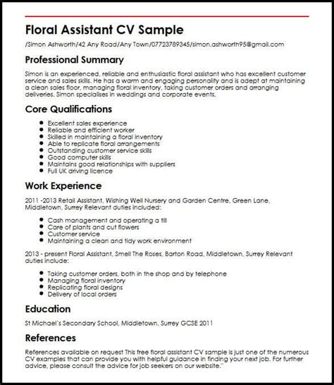 curriculum vitae templates free uk floral assistant cv sle myperfectcv