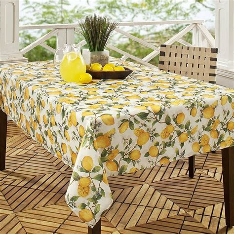 Patio Table Tablecloths Benson Mills Lemon Tree Printed Fabric Tablecloth 60 Inch By 120 Inch Maxwell